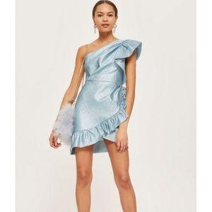 Topshop Blue Metallic One Shoulder Ruffle Dress 12
